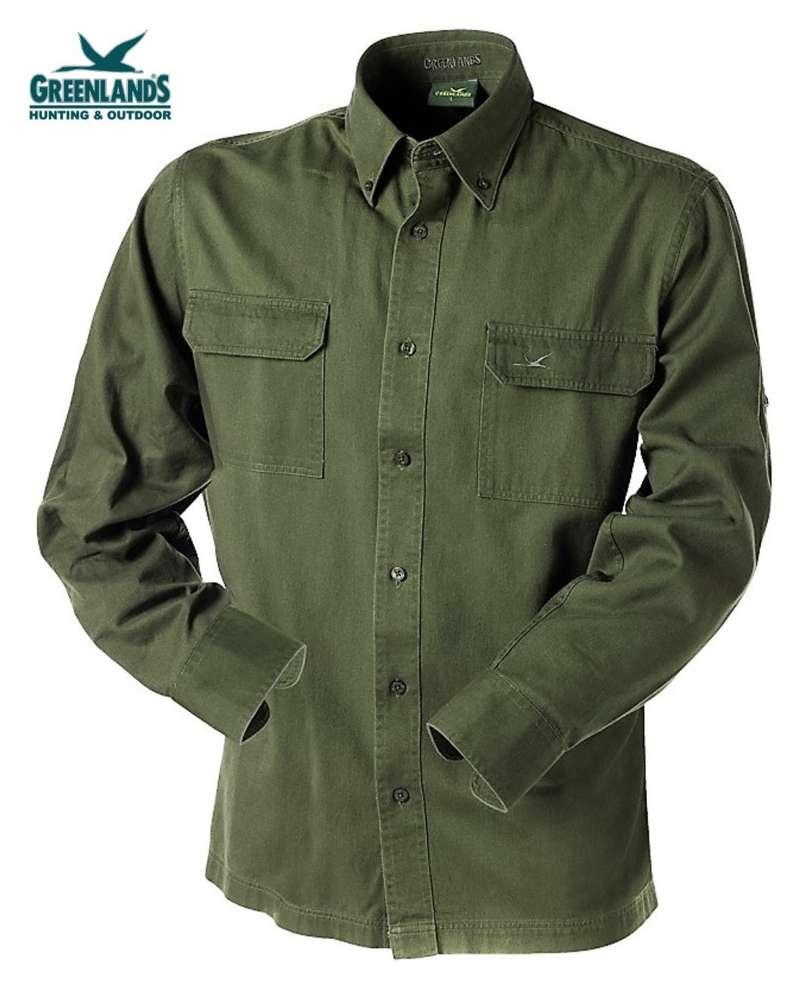 Donkergroen Overhemd.Overhemd Met Borstzakken 100 Katoen Cotton Twill Donkergroen